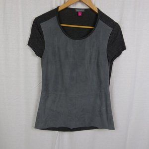 Vince Camuto Gray Faux Suede Front Shirt SMALL